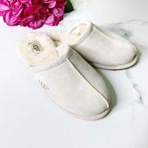 UGG Pearle Sand Cream Suede Wool Lined Slippers 6